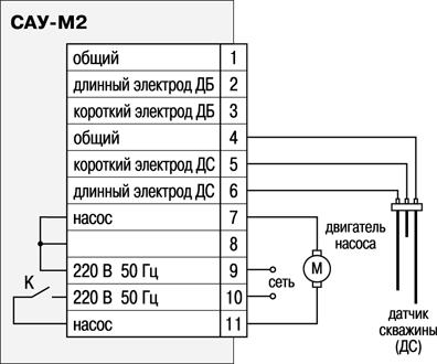 Схема подключения САУ М2 при использовании его для осушения резервуара