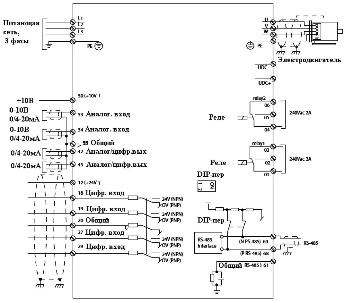 Преобразователь частоты ОВЕН ПЧВ3.  Схема подключения.