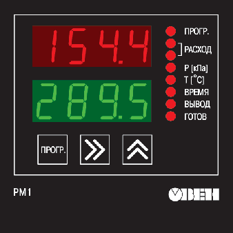 Расходомер ОВЕН РМ1. Элементы управления прибором