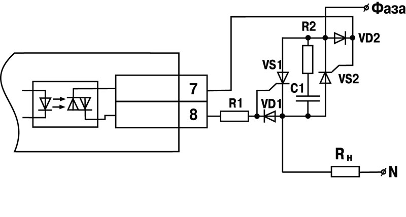 Схема соединения ЦАП с нагрузкой для ВУ типа И. Схема подключения к ВУ типа С двух тиристоров, подключенных...
