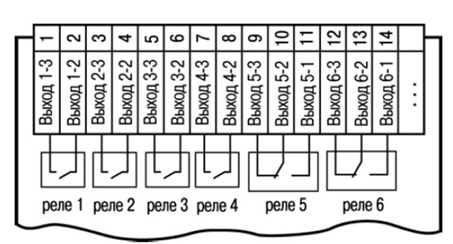 Схема подключения электромагнитных реле прибора ТРМ136-Р.