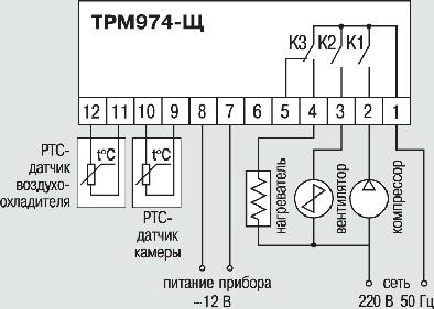 Схема подключения прибора ТРМ974