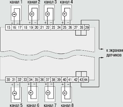 Схема подключения приборов модификаций УКТ38-Щ4-АТ и УКТ38-Щ4-АН