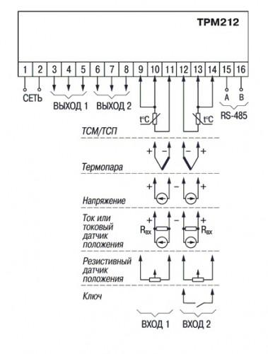 Общая схема подключения ТРМ212