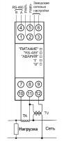 Схема подключения МЭ110-224.1М к однофазной сети
