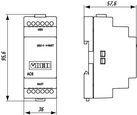 Габаритные размеры преобразователя интерфейсов ОВЕН АС6
