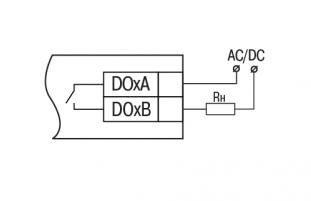 Схема подключения внешних связей к дискретным выходам типа «реле»