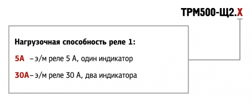 Обозначения при заказе ТРМ500