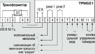 Общая схема подключения ТРМ501