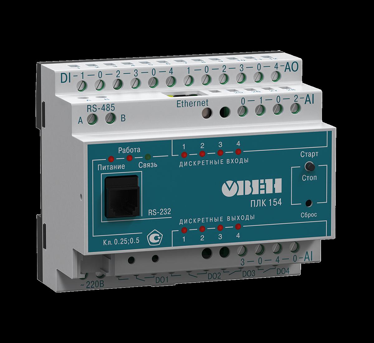 ПЛК154 контроллер для малых систем автоматизации с AI/DI/DO/AO