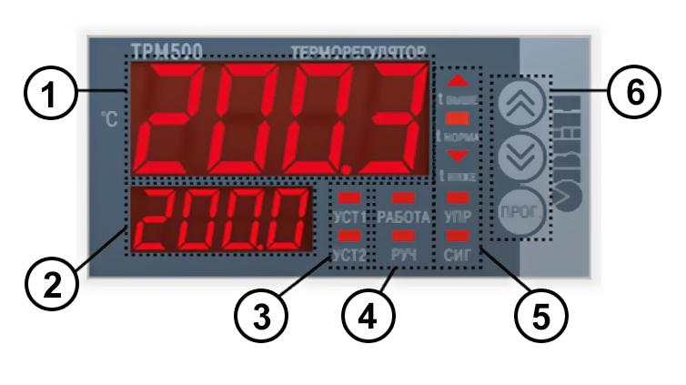Элементы индикации терморегулятора ТРМ500